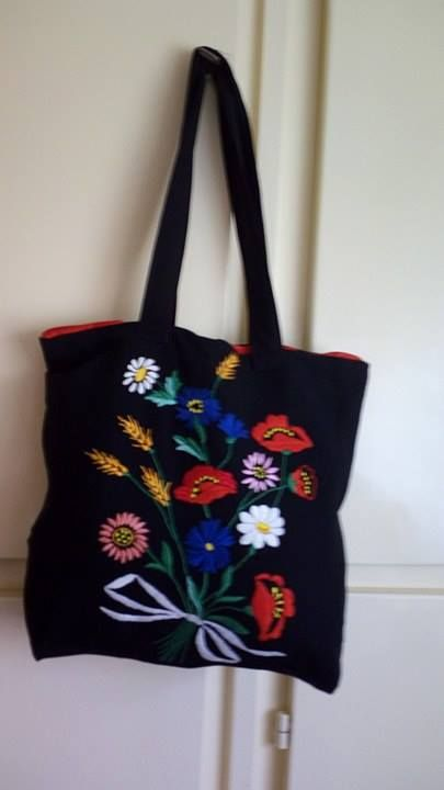 sewed bags with embriodery flowers