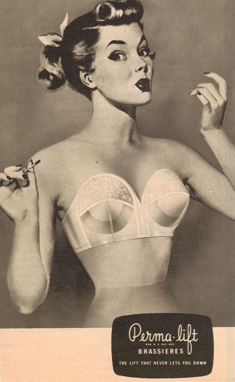 Vintage Ad Lingerie Permalift bullet bra ad cerca 1950s. #bulletbras