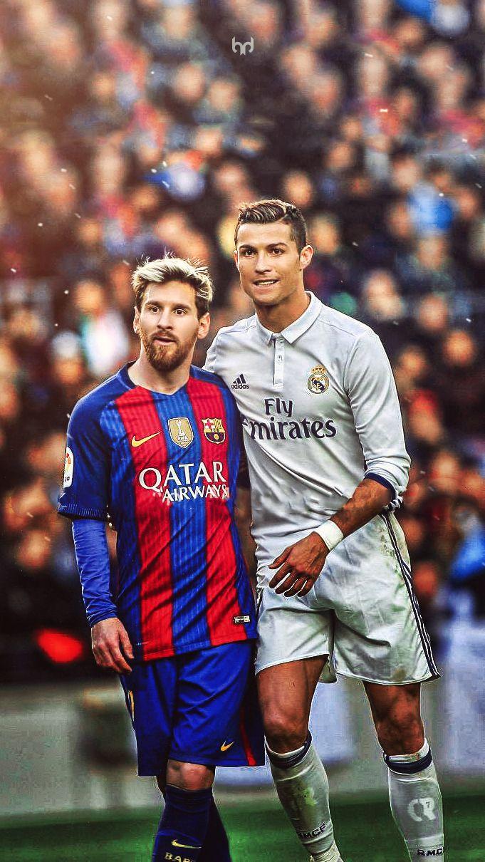 Messi and Cristiano Ronaldo.  Lock screen.