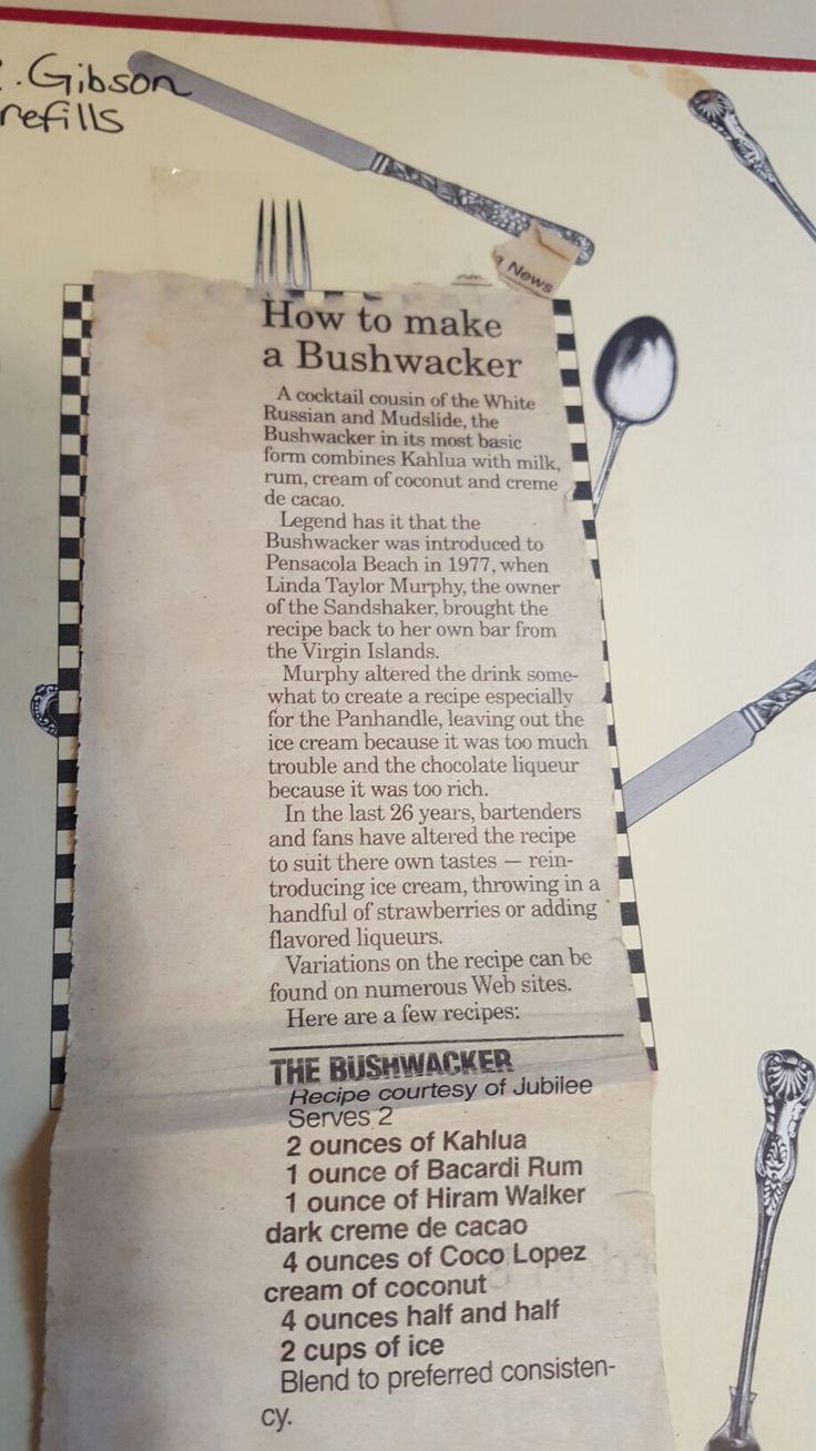 Bushwacker history and recipe