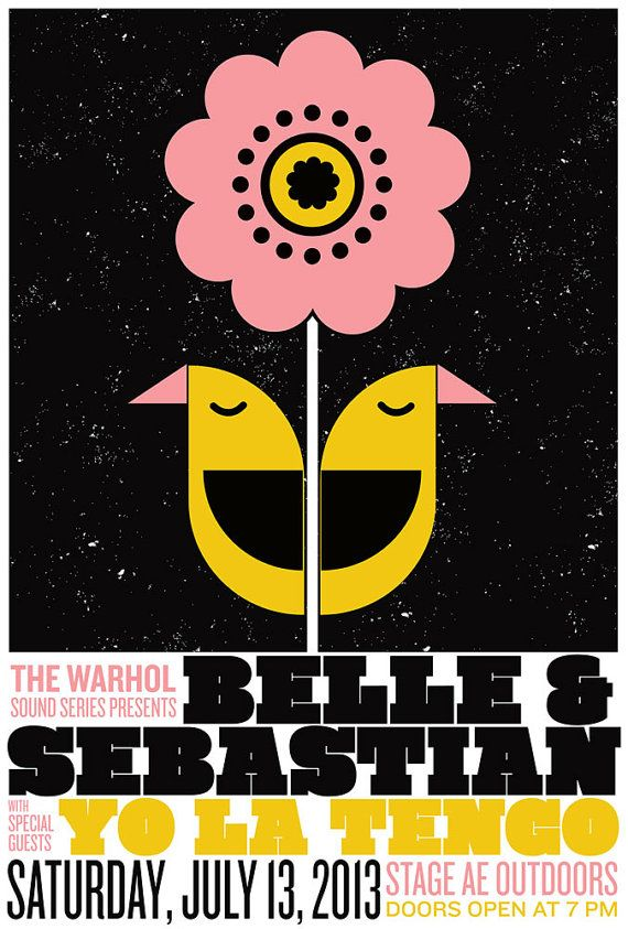 Belle & Sebastian Hand Pulled Screenprint Rock Poster - Silkscreen poster with Yo La Tengo on Etsy, £15.74