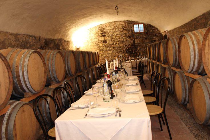 dinner in the castello di Meleto cellar
