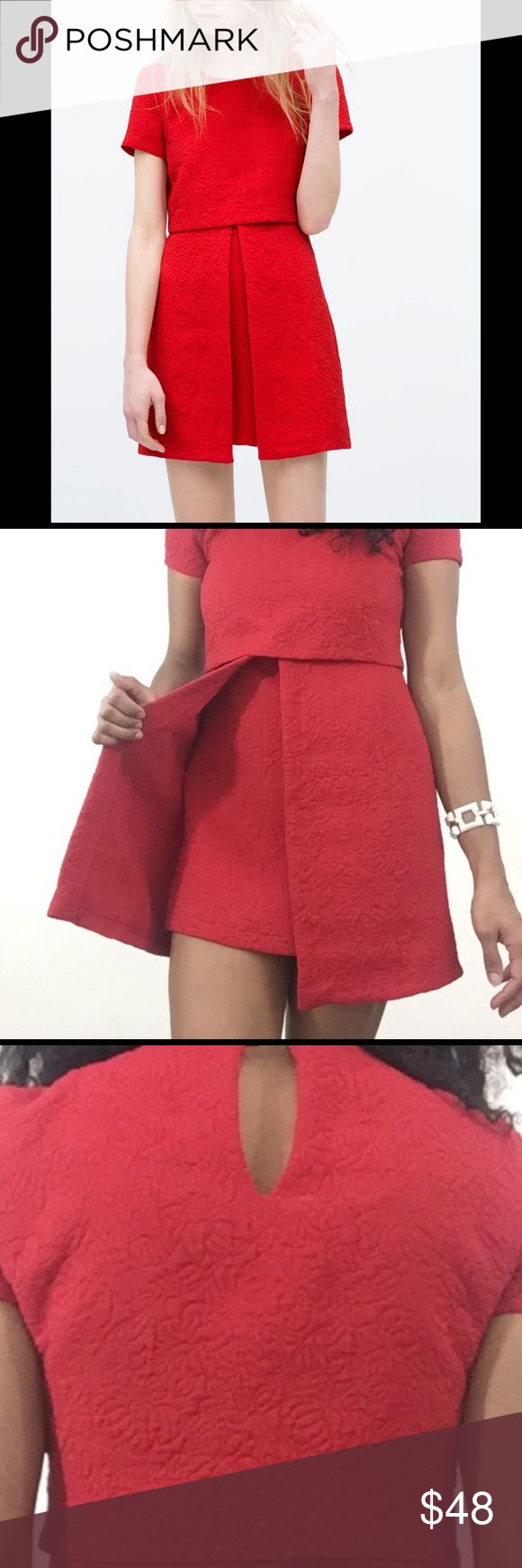 """ZARA DRESS Oh so cute red ZARA dress with cap sleeves and one button, peek-a-boo and zip back closure. 31"""" from shoulder to hem. In excellent condition. Dress looks exactly like the first picture (vibrant red), which is adorable!  Zara Dresses"""