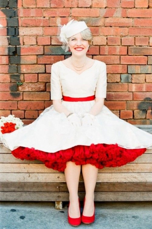 30 Funny 50s Retro Wedding Theme Ideas | Weddingomania   I like the idea of color in the shoes, crinolines and the belt.