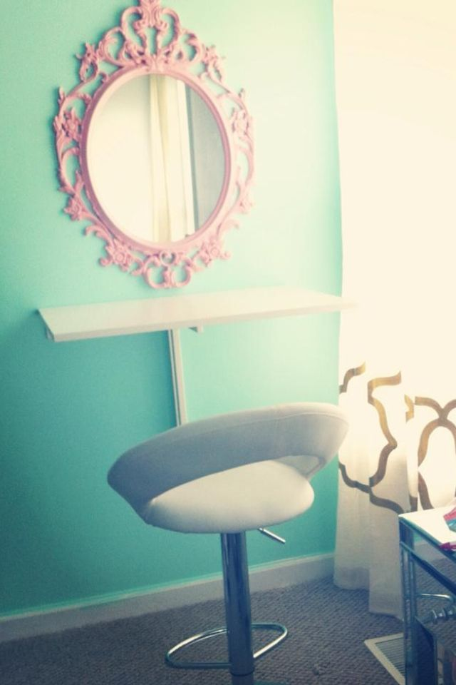 """My """"on a budget"""" DIY vanity. IKEA 'Ung Drill"""" Mirror Spray Painted Light Pink. White IKEA Wall Desk."""