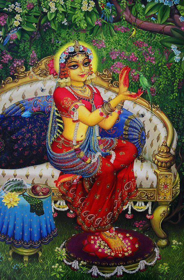 Radha Avec Parrot Peinture