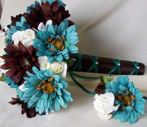 Brown Wedding Flowers: 29 Best Teal & Brown Wedding Images On Pinterest
