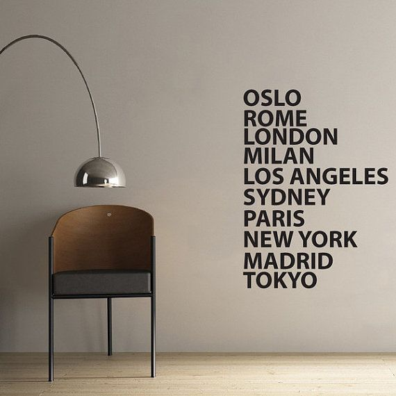 City Names Wall Sticker for office or business by Vinylimpression, £29.99