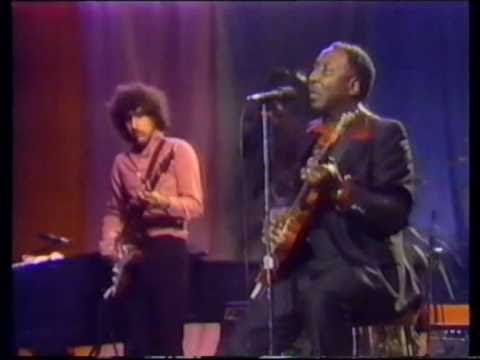 """Muddy Waters with band including Pinetop Perkins and Jerry Portnoy filmed at Montreal Jazz Festival , University Of Montreal , 1980 performing """"Hoochie Kooch..."""