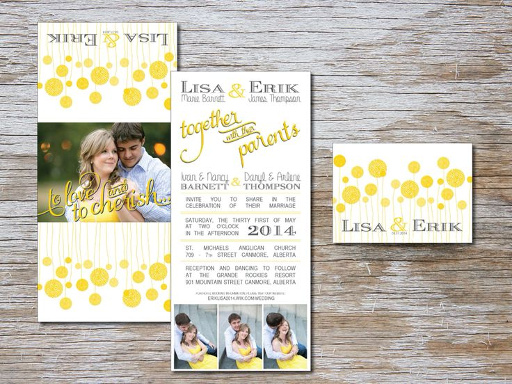Trifold grey and yellow wedding invitation by Bliss Invitations and Design. www.blissinvitationdesign.com