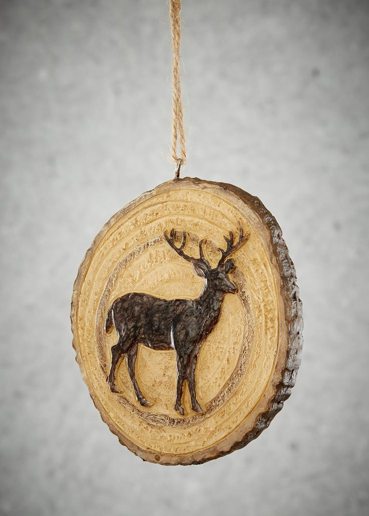 Wooden Stag Christmas Tree Decoration (10cm x 8cm)