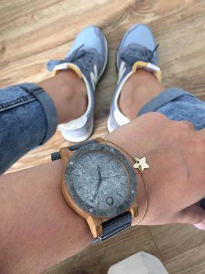 Drewniany zegarek Seria Raw – Double Silver – Dąb