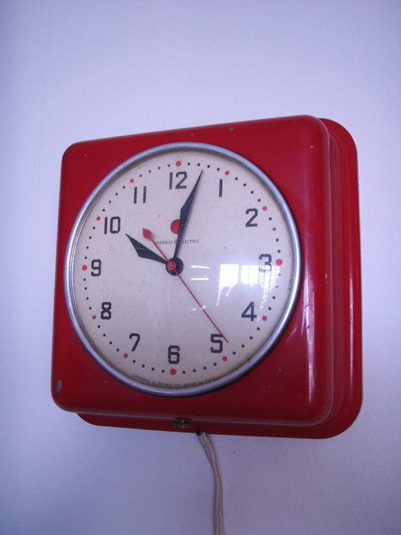 vintage red industrial wall clock general electric made in usa circa 1940u0027s