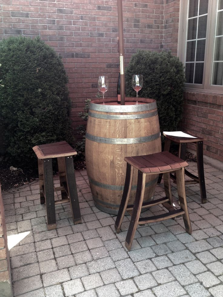 wine barrel bar table with stools by backyard barrel company 799