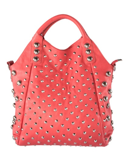 Red studded hobo purse