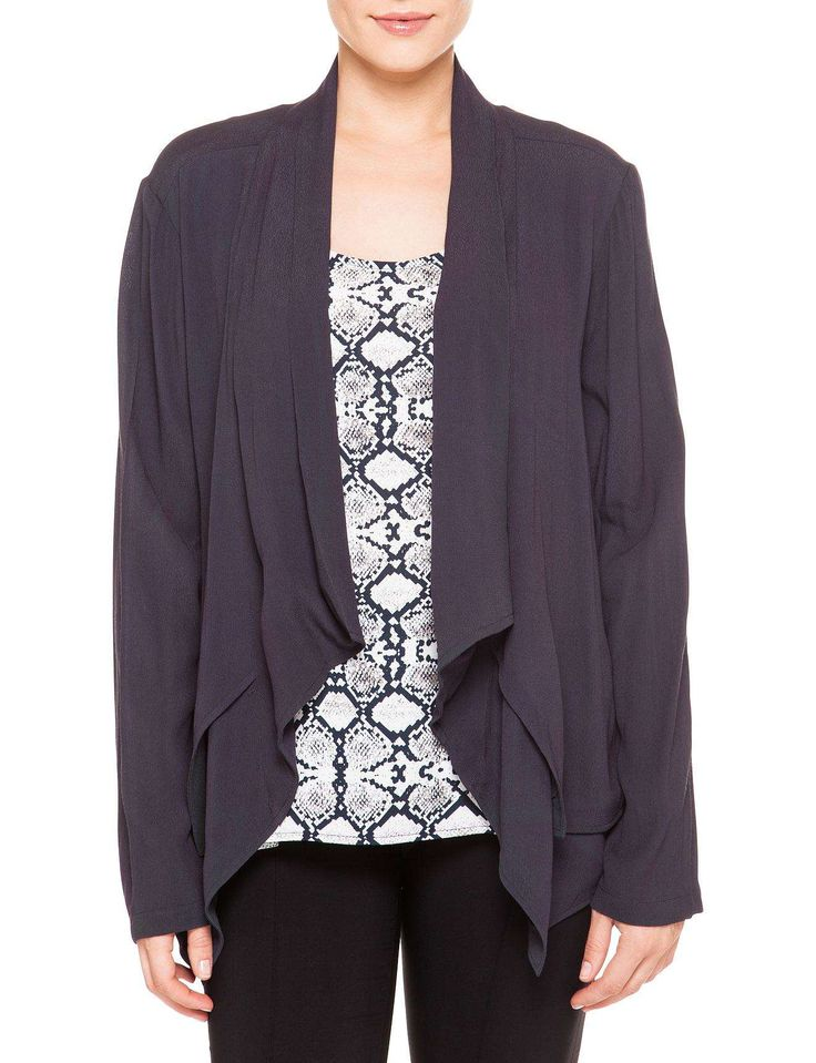 RATTLE & HUM VISCOSE CREPE WATERFALL JACKET | David Jones
