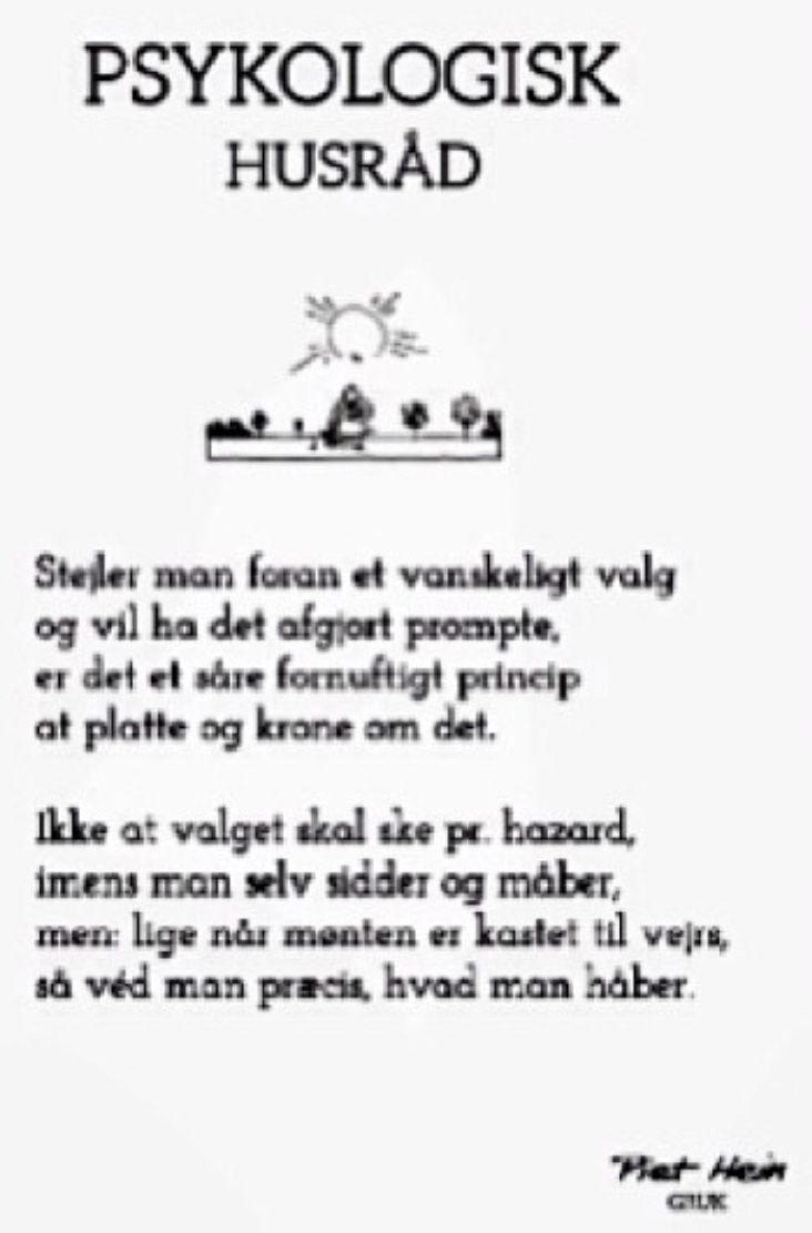 Danish quote from Piet Hein