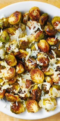 Gluten free, Healthy Recipe: Asiago Roasted Brussels Sprouts.