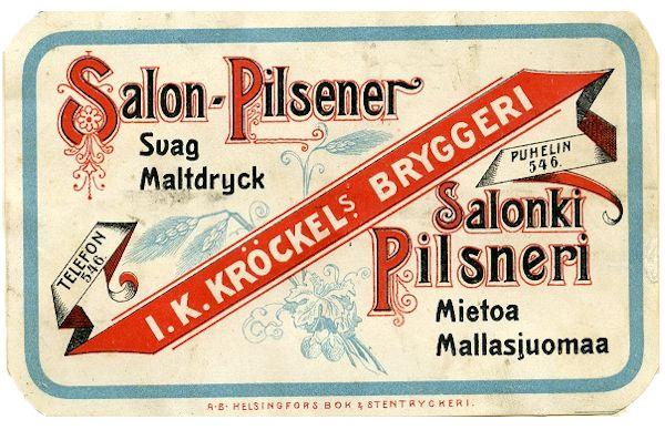Salonki Pilsneri, I.K. Kröckels Bryggeri, #olut #etiketit #beer #labels