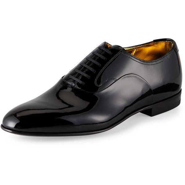 Bally Garret Patent Leather Lace-Up Oxford (2.265 BRL) ❤ liked on Polyvore featuring men's fashion, men's shoes, men's oxfords, black, mens metallic shoes, mens oxford shoes, mens black patent leather shoes, mens black shoes and mens black oxford shoes
