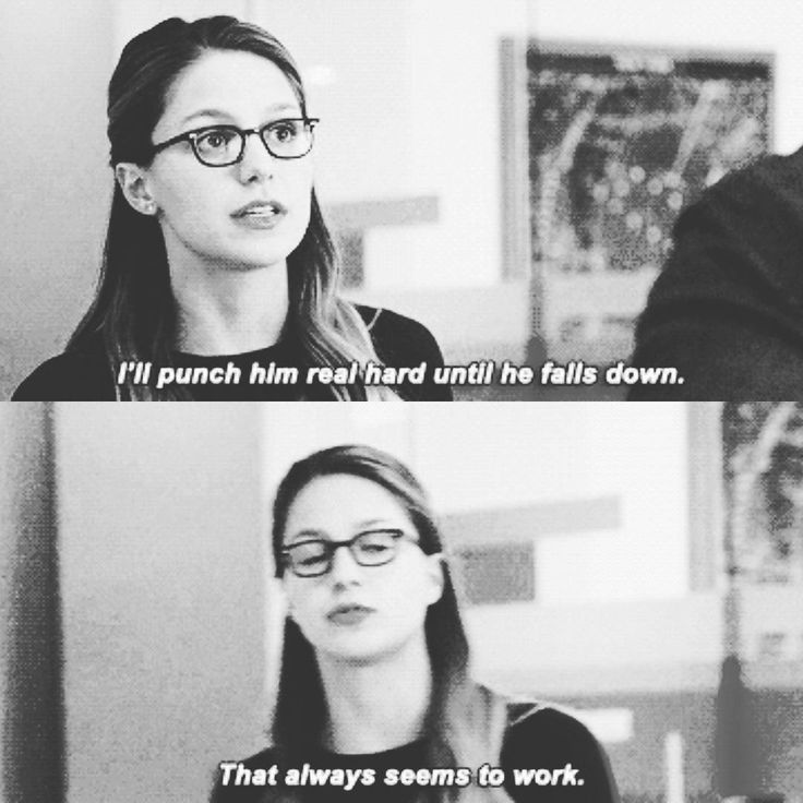 """I'll punch him real hard until he falls down. That always seems to work"" - Kara Danvers #Supergirl"
