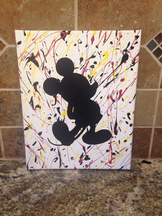 Mickey Mouse Splatter Paint Canvas 8x10 by KreationsbyKater