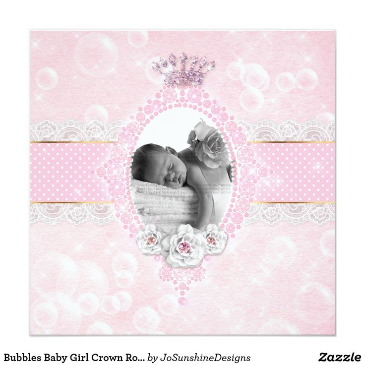 Bubbles Baby Girl Crown Rose Pink Gold Dot Card