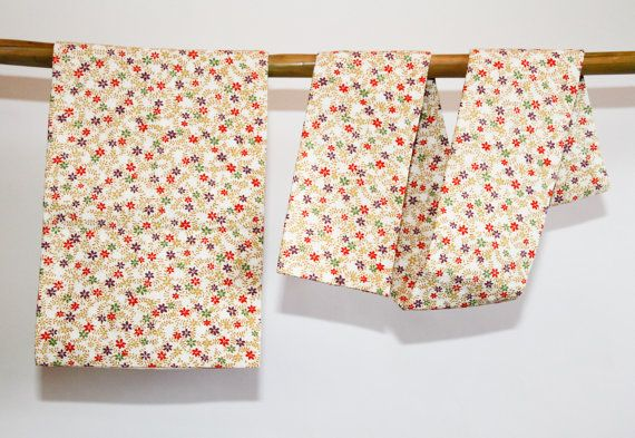 Tsuke Obi Floral Cream Japanese Vintage 2 piece Obi, Kimono Accessory Sash, Japanese Belt, Asian Table Runner, Home Decor, Gifts Under 50