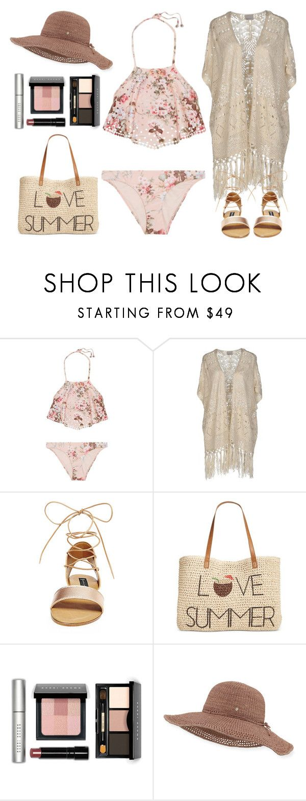 """""""Bikini Outfit in Pinks and Browns"""" by basicstarks ❤ liked on Polyvore featuring Zimmermann, Vero Moda, Steve Madden, Style & Co., Bobbi Brown Cosmetics and Helen Kaminski"""