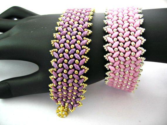 Tutorial Superduo Tweed Bracelet Instant Pattern Download. Original Bead Pattern by Butterfly Bead Kits