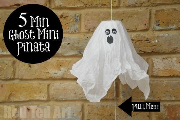 Paper Cup Ghosts - turn them into fun Mini Pinatas for Halloween