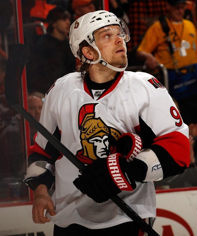 Milan Michalek on 3/31/12 against the Flyers