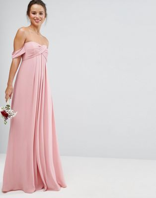 ASOS WEDDING Bandeau Tie Front Maxi Dress