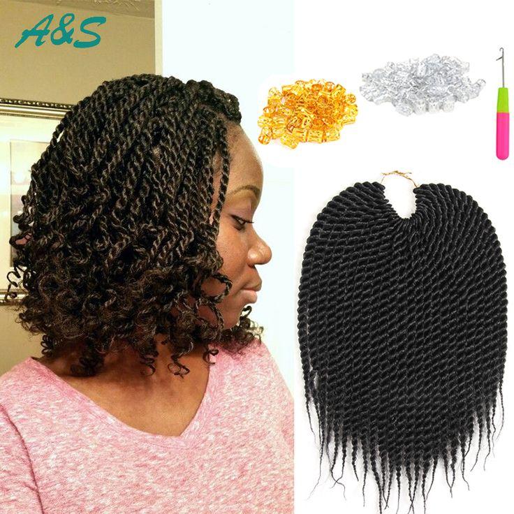 "10"" thin and short senegalese twist hair micro crochet braids havana mambo twist braiding hair extensions synthetic hair weave"