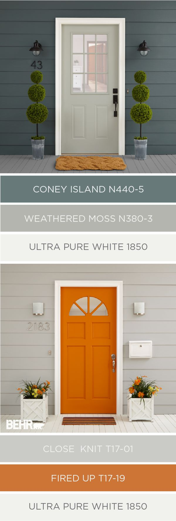 Whether your design style is more classic and traditional or modern and edgy, there's a color palette out there for you. Give the exterior of your home a fresh new look by painting your front door and siding. Choose from a light neutral color like Weathered Moss or go bold with a vibrant hue like Fired Up. No matter what you choose, BEHR has all the design inspiration you could ever need.
