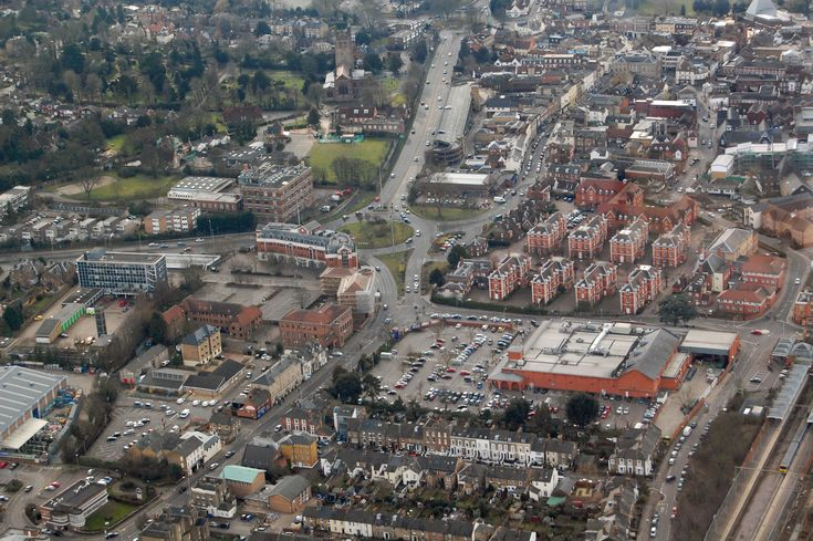 Bluecoats and Tesco dominate this photo that also shows Gascoyne Way, Stag House, Villiers Street, Ware Road and Hertford town centre.