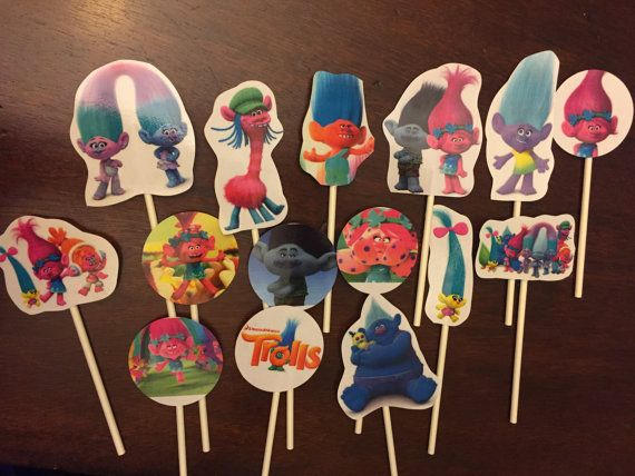 Trolls cupcake toppers. 15 Birthday cake by KidsCornerJewels
