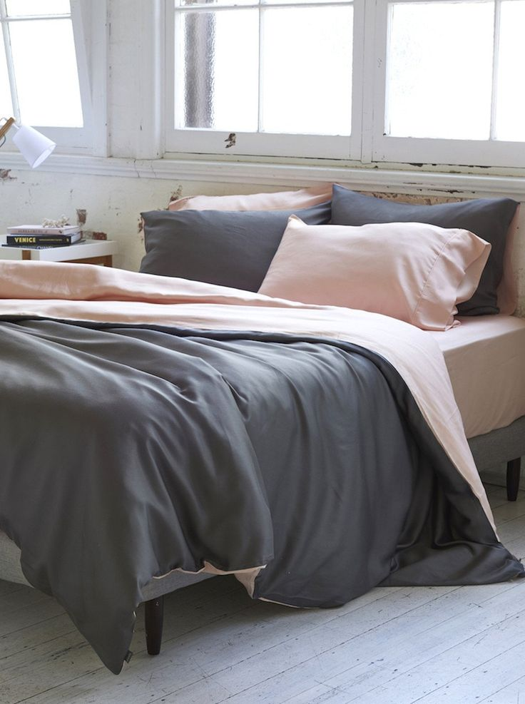 Rest easy with this reversible soft pink and grey duvet set. Made with 100% organic bamboo lyocell, these are great bed sheets for menopause.