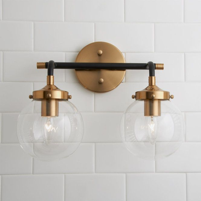 Mixed Metal Globe Vanity Light 2 Light Modern Vanity Lighting Bathroom Light Fixtures Modern Vanity