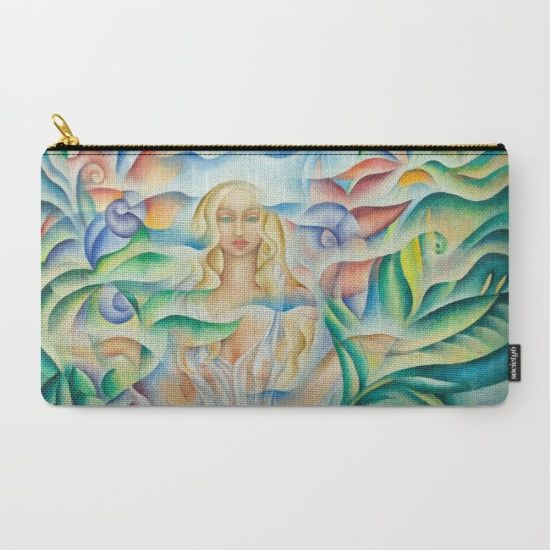 Flower Goddes Pouch. Design based on oil painting by Monique Rebelle. Organize your life with our Carry-All Pouches. Available in three sizes with wraparound artwork, these pouches are perfect for toiletries, art supplies or makeup. Even an iPad fits into the large size. Features include a faux leather pulltab for easy open and close, a durable canvas-like exterior and a 50/50 poly-cotton black interior lining.   #carryallpurse #accessories #women #floweroflife #flowerart #goddessbeauty