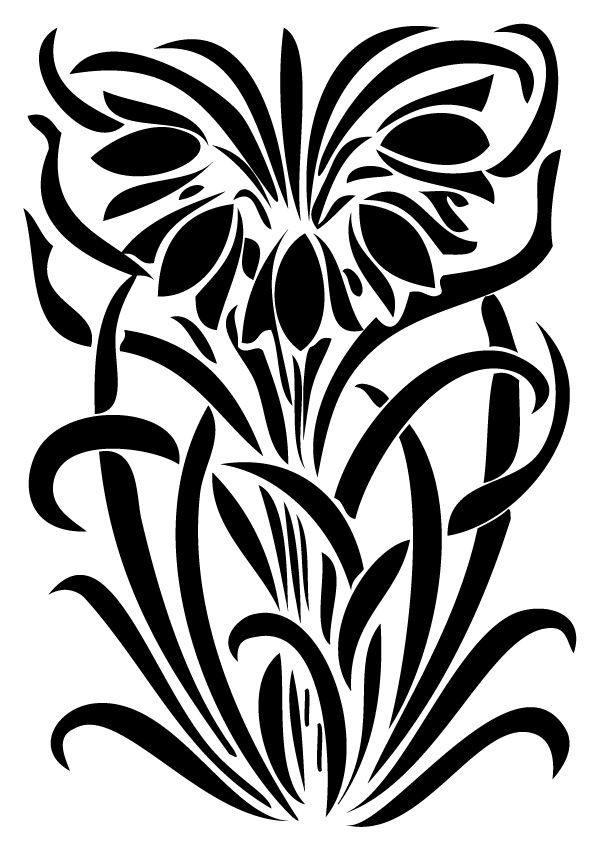 Flower art deco stencil flower inspiration for Art deco flowers