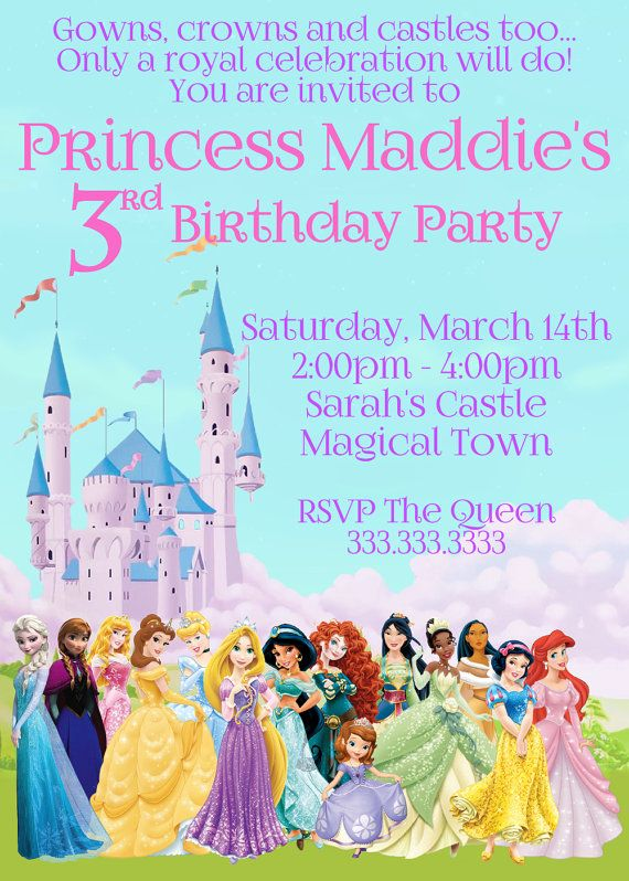 Disney Princess Invitation Princess Birthday by CutePixels on Etsy