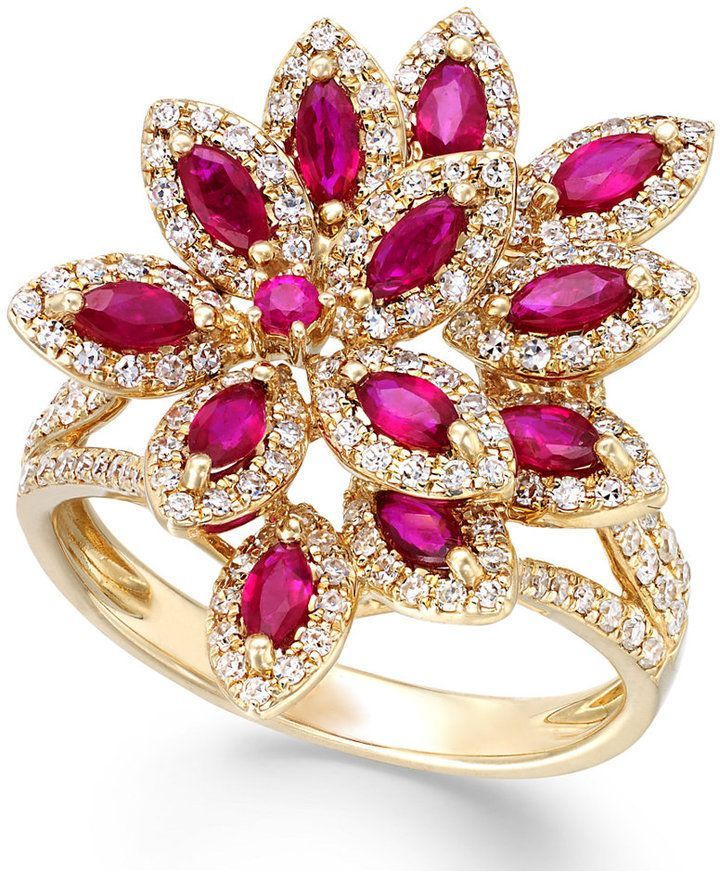 Ruby & Diamond Ring in 14k Gold ✿⊱╮