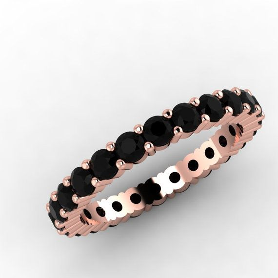 14K Rose Gold Black Diamond Eternity Wedding by EternityCollection, $1175.00