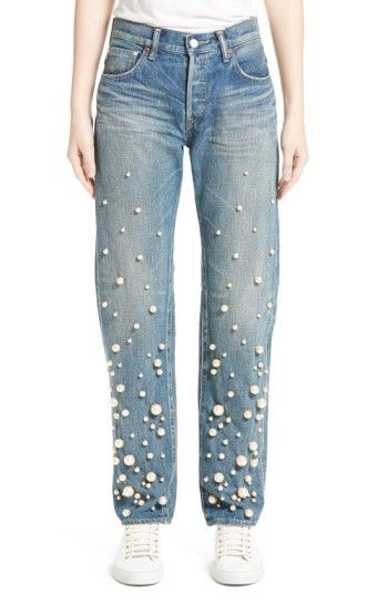Free shipping and returns on Tu es mon TRÉSOR Snow Imitation Pearl Embellished Jeans at Nordstrom.com. Beloved by celebrities and street-style stars alike, Tu es mon TRÉSOR jeans combine quality Japanese selvedge denim with luxe feminine embellishments. Here, a snowy cascade of lustrous imitation pearls drifts down the front of beautifully tailored and faded jeans cut with a fitted waist and perfectly slouched legs.