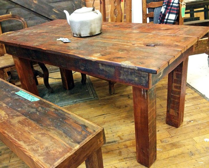 1840's Harvest Table, made from reclaimed BC Fir roof boards and 4x4 structural beams