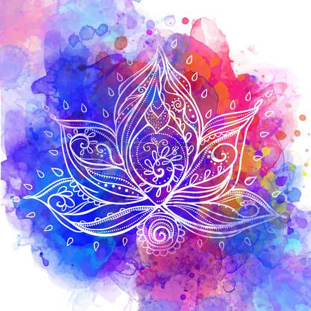 lotus flower: Ornamental Boho Style lotus Flower. Geometric element hand drawn…