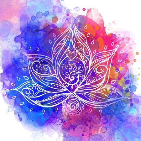 yoga class: Ornamental Flor de loto Boho Style. Dibujado elemento geométrico mano. Tarjetas perfectas para cualquier otro tipo de diseño, cumpleaños y otro día de fiesta, medallón, el yoga, la india, árabe, om Vectores