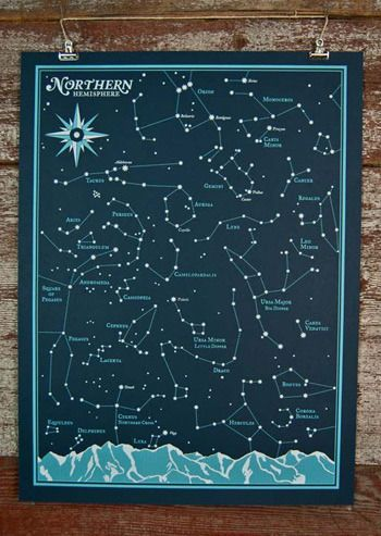 """""""Northern and Southern Hemisphere Star Charts"""" from Brainstorm Print and Design"""