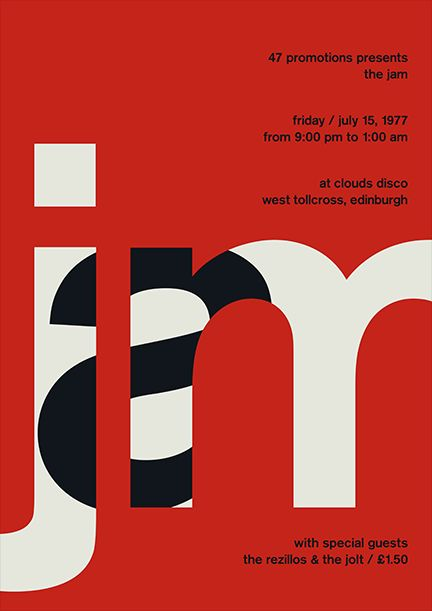 "Designer: unknown | #advertising | The design was posted on pinterest from inspirationde.com.  | I find this design so clever because the word ""jam"" is actually created from arranging the letter ""j"" and ""m"" close together and then placing the ""a"" inside the ""j"" and ""m.""  The design is concise, clear,  and legible."